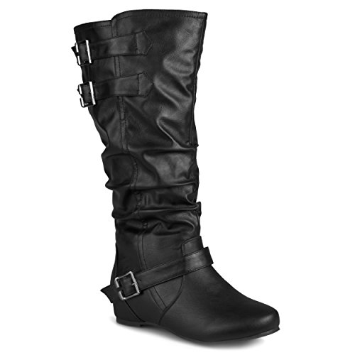 Journee Collection Womens Regular Sized and Wide-Calf Buckle Slouch Low-Wedge Boots Black, 8.5 Wide Calf - Buckle Slouch Boot Knee