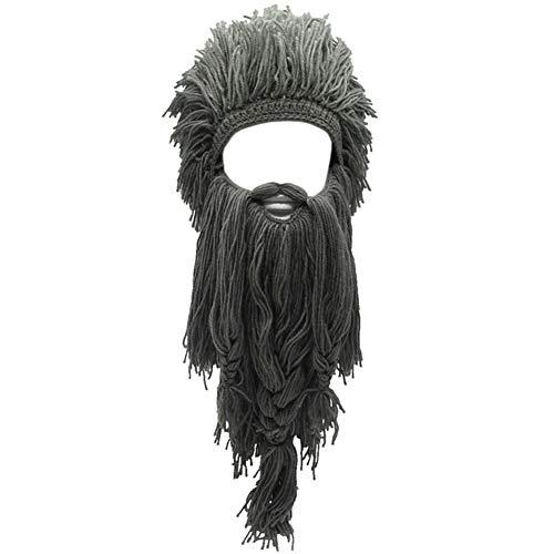 Creative Original Barbarian Knit Hair Beard Hat and Roman Knight Helmet Visor Cosplay Knit Beanie Hat (L-Grey)