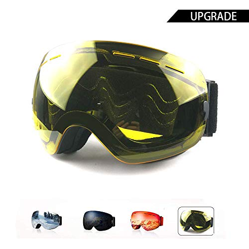 AXRASER Ski Goggles, Magnetic Snowboard Snow Goggles -2 Seconds Quick Change Lens, Imported Double-Layer Anti Fog Lens -UV400 Over Glasses OTG Helmet Compatible