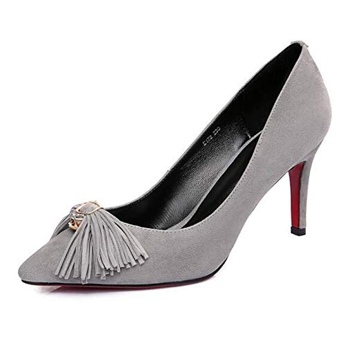 Black Basic Heels Almond ZHZNVX Heel Spring Gray Black Stiletto Suede Women's Pump w4n6nPqa