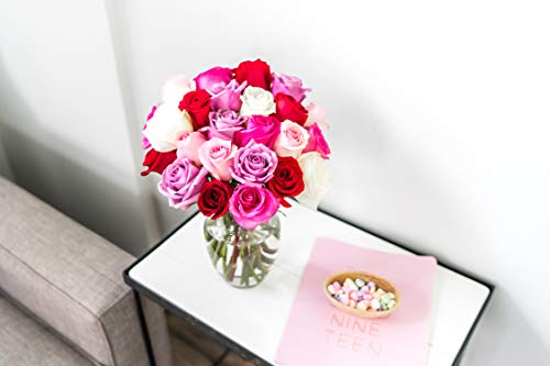 Flowers - 2 Dozen Roses in Red, Pink, Purple & White (Free Vase Included) by From You Flowers (Image #2)