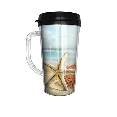 Ytfsf Beautiful Star Fish And Beach Casual Pop Handle Handle Coffee Cup Home,Office,Meeting,Dinner,Outing
