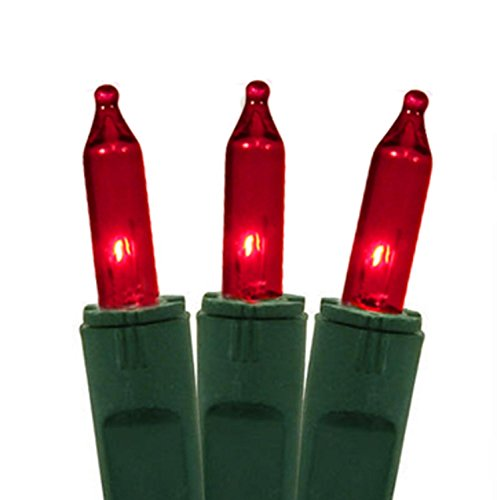 Bethlehem Lighting GKI Red Perm-O-Snap Mini Christmas Lights with Green Wire, Set of (Perm Wire)