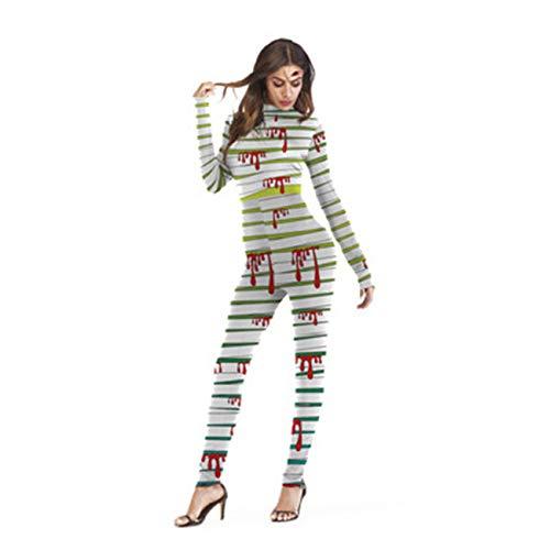 Caihongniao Women's Bandage Splatter Blood Hallowmas Costume Cosplay Jumpsuit Romper ()