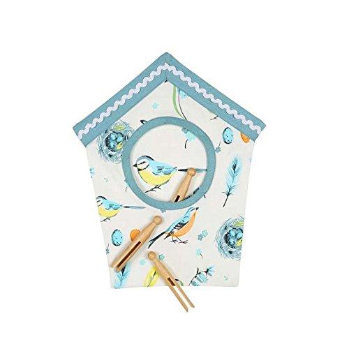 Dexam Vintage Songbirds Peg Bag, Cotton, Blue, 15 x 15 x 21 cm 16150222