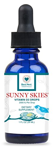 Sunny Skies Vitamin D3 Drops | Vitamin D Drops Liquid Supplement, 2000 IU Per Drop, Non-GMO, Boost Immune System & Energy Levels for Kids & Adults, 1 Oz, Best Nest Wellness