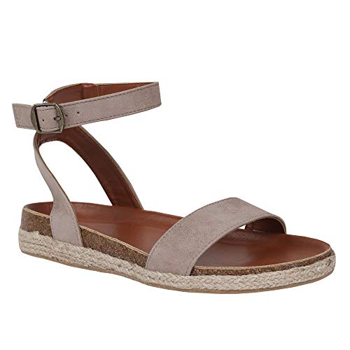 FISACE Womens Summer Comfort Espadrille Open Toe Donddi Flat Sandal One Band Ankle Strap Dressy Shoes (8 M US, ()