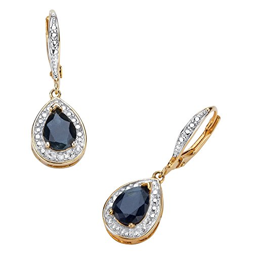 - 18K Yellow Gold Plated Pear Shaped Genuine Midnight Blue Sapphire and Diamond Accent Drop Earrings (32x10mm)