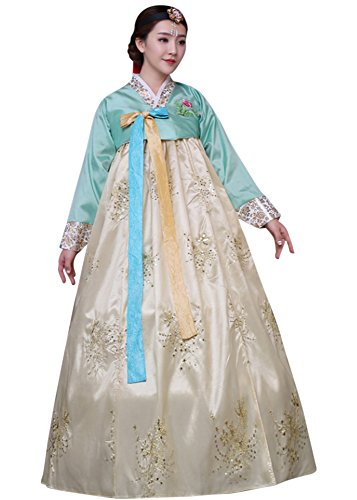 CRB Fashion Womens Korean Traditional Hanbok Top Dress Costume with Headpiece Set Outfit (Medium, Light Gold)