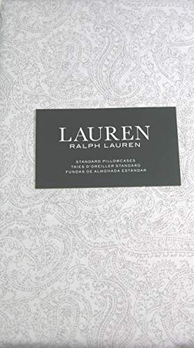 Lauren Standard Paisley Floral Pillowcases Set of 2 Light Gray and White 100% Cotton