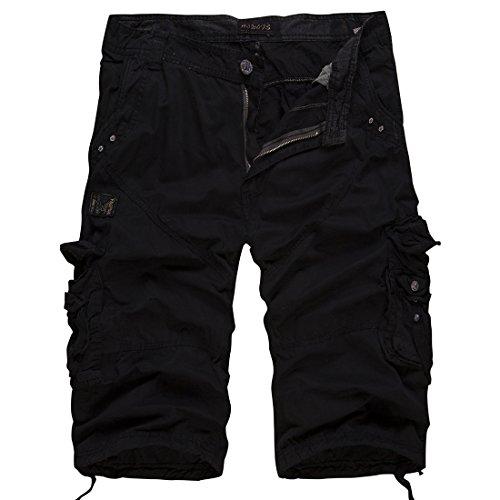 Long Shorts Capri Pants (Men's Relaxed Fit Solid Long Cargo Shorts Capri Pants (no belt)(Black,34))