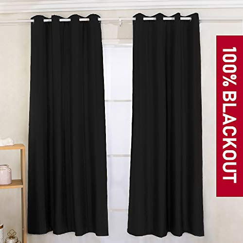 YIBU 100% Blackout Curtains Set, Thermal Insulated & Energy Efficiency Window Drapery, Lined Silky Performance (2 Panels, W42 x L84 -Inch, Black)