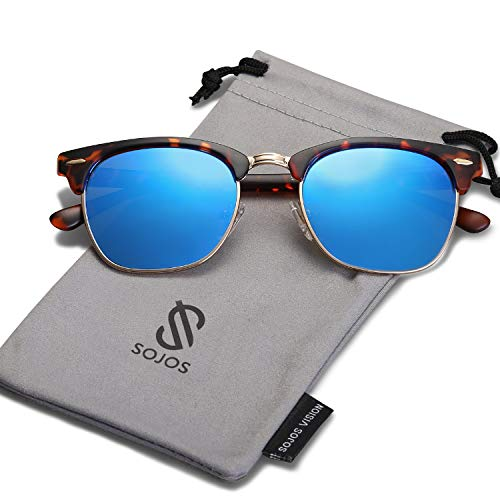(SOJOS Semi Rimless Polarized Sunglasses Half Horn Rimmed Glasses SJ5018 with Tortoise Frame/Blue Mirrored Polarized Lens)
