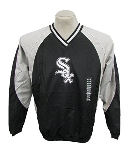 Majestic MLB Chicago White Sox Style P084 Pull Over Windbreaker Jacket, Black, XX-Large Chicago White Sox Pullover