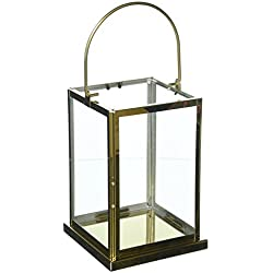"Deco 79 70074 Golden Stainless Steel and Glass Candle Lantern, 14"" x 5"", Clear"