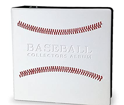 White Stitched Baseball Card Collectors 3 Ringed Album With 3 D Rings 2 Pack