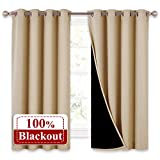 Bedroom Full Blackout Curtain Panels, Super Thick Insulated Window Covers, Complete Blackout Draperies with Black Liner for Short Window(Biscotti Beige, Set of 2 PCs, 52 by 63-inch)