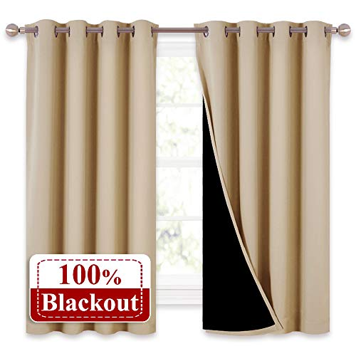 NICETOWN Bedroom Full Blackout Curtain Panels, Super Thick Insulated Window Covers, Complete Blackout Draperies with Black Liner for Short Window(Biscotti Beige, Set of 2 Pcs, 52 by 63-inch)