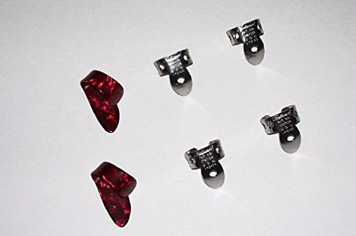 2 Small Red Pearloid Thumb Pick and 4 NP2 Stainless Steel National Finger Pick 100574; Banjo,  Dobro, Steel, Guitar, USA