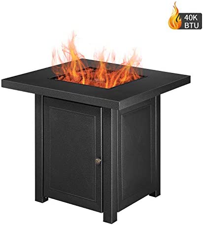 DOIT Outdoor Square 40,000 BTU Propane Gas Fire Pit Table Lava Rocks,28inch Propane Fireplace Strong Steel,Patio Heaters Stove Adjustable Flame