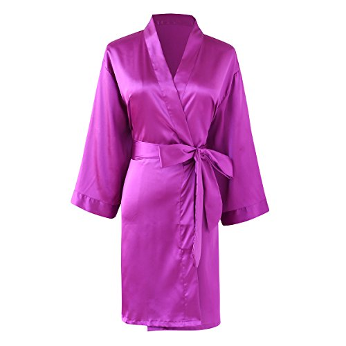 SheSmile Women Sexy Robe Silk Kimono Bathrobe Solid Color Short Satin Dressing (Long Sleeve Satin Robe)