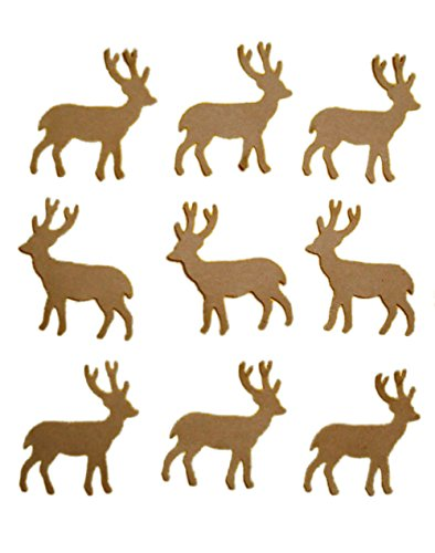 """Custom & Fancy {1"""" Inch} 50 Pieces of Large """"Table"""" Party Confetti Made of Premium Card Stock w/ Nature Wildlife Forest Elk Deer Stag Hunting Animal Cutout Scatter Crafts Design [Brown]"""