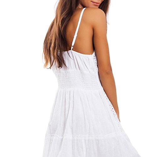 chic donna 9939 Vestito pizzo boho unica ND Ibiza Toocool abito lungo bianco Taglia leggero sangallo cotone zBqn5