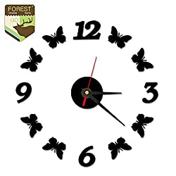 DDAKXD Modern Mute Clock Butterfly DIY Large Wall Clock 3D Acrylic Art Designs Home Decoration for Kitchen Clock Wall Digital Watch Black