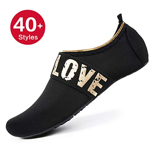 (Womens and Mens Water Shoes Barefoot Quick-Dry Aqua Socks for Beach Swim Surf Yoga Exercise (Gold Love/Black, L))