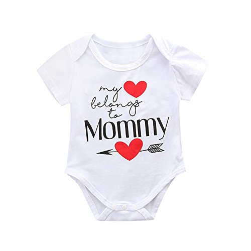 Toraway Toddler Infant Baby Romper Outfits Mother's Day Baby Girls Boys Letter Short Sleeve Romper Jumpsuit Clothes Outfits (White, 90/6-12 Months)