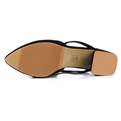 Coolcept Women Mid Heel Mules Shoes Closed Toe Black QgaE5ud
