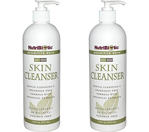 Nutribiotic Non Soap - NutriBiotic Sensitive Skin Non-Soap Skin Cleanser (Pack of 2) with Aloe Vera Leaf Powder, Grapefruit Seed Extract, Rosemary Leaf Extract, Sage Extract, Coltsfoot Extract and Thyme Extract, 16 oz.