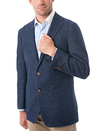 - Chama Men's Two Buttons Navy Blue & Black &Light Grey Wool Blend Classic Fit Casual Sports Coat Blazer Jacket with Notch Lapel (Dark Navy, 50L)