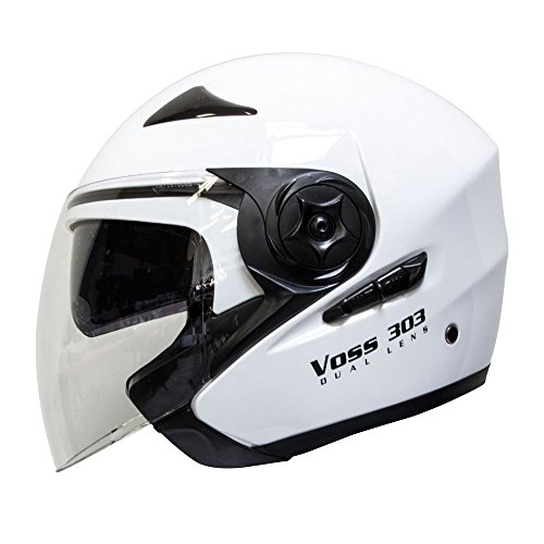 - Voss 303 Dual Lens Cruiser DOT Three Quarter/Open Face Helmet with Integrated Sun Lens and Quick Release System - S - Gloss White