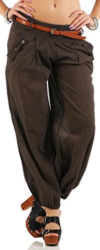 malito Pantalón Bombacho incl. el Cinturón Pantalón de tela Unicolor 6017 Mujer marrón