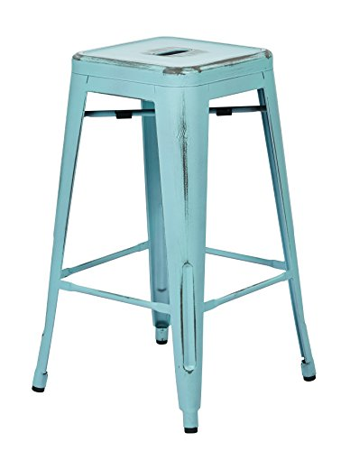 Office Star Bristow Antique Metal Barstool, 26-Inch, Antique Sky Blue, - Metal 26 High