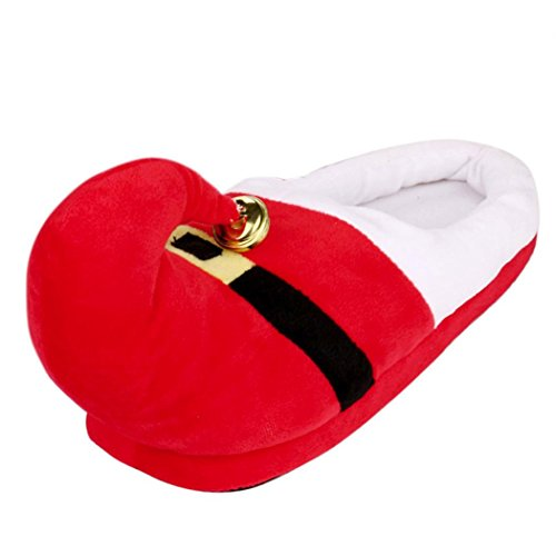 Gusspower Christmas Hausschuhe, Unisex Plush Cotton Home Slippers Winter Indoor Warm Christmas Slippers Shoes Rot
