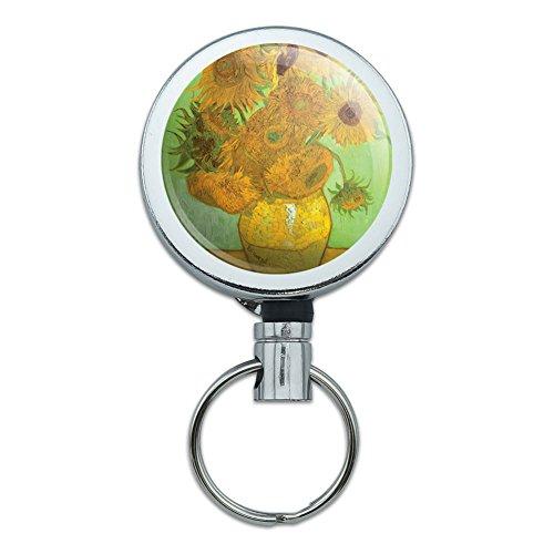 All Metal Retractable Reel ID Badge Key Card Holder with Belt Clip Art Paintings - Still Life Vase Sunflowers Van Gogh