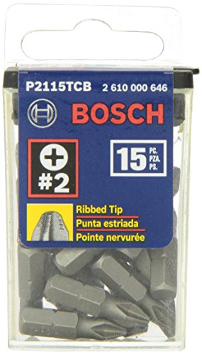 Bosch P2115TCB 1 In. Impact Tough Phillips Insert Bit, 15-Piece Phillips Bits