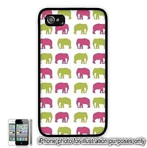 Pink Green Elephants Monogram Pattern Apple iPhone 4 4S Case Cover Skin Black