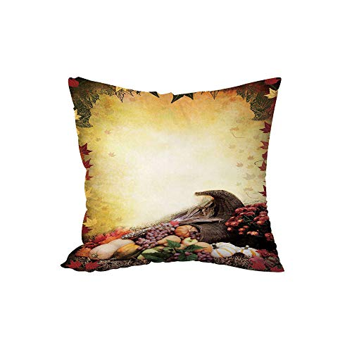 iPrint Polyester Throw Pillow Cushion,Harvest,Autumn Themed Image Pale Colored Background Vegetables in Cornucopia Illustration Decorative,Multicolor,15.7x15.7Inches,for Sofa Bedroom Car Decorate
