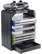 Geekhome - Universal Games Storage Tower voor max. 10 games, extra vak voor accessoires, opslagruimte voor controllers - geschikt voor PlayStation 5, Xbox Series S & X, Xbox One, PS4, PS3, Blu-rays