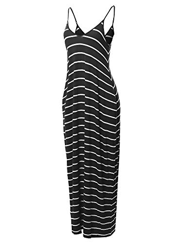 Made by Emma Casual Adjustable Strap Side Pockets Stripe Loose Maxi Dress Black M