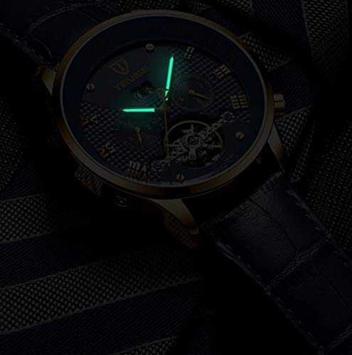 Armbandsur, herrklocka automatisk multifunktion vattentät mekanisk klocka, svart
