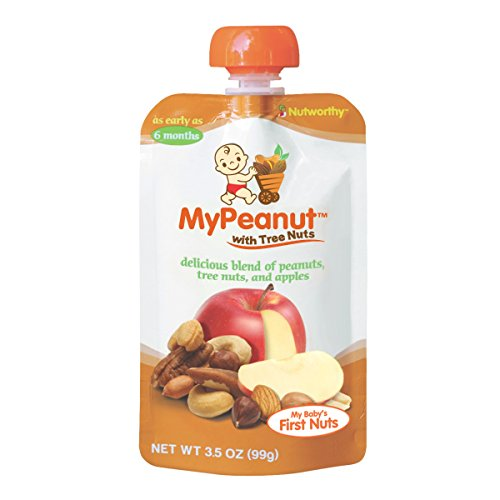 MyPeanut Baby Food, Organic Stage 2 Peanut, Tree Nut and Apple Puree for Introducing and Feeding Babies and Toddlers Nuts, May Reduce the Risk of Peanut Allergy, BPA Free 3.5 - Food Allergies Toddlers