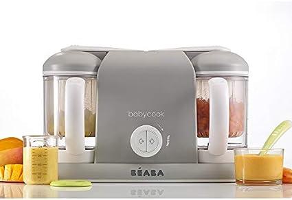 Béaba Babycook Duo Robot de cocina infantil 4 en 1, Tritura, cocina y cuece al vapor, Cocción al vapor rápida en 15 minutos, Comida casera para bebés y niños, Capacidad XXL: 2 x 200 ml, Gris