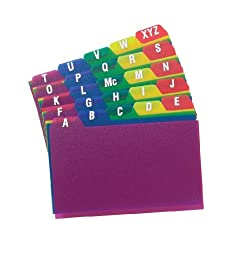 Oxford Poly Index Card Guides, Alphabetical, A-Z, Assorted Colors, 4\
