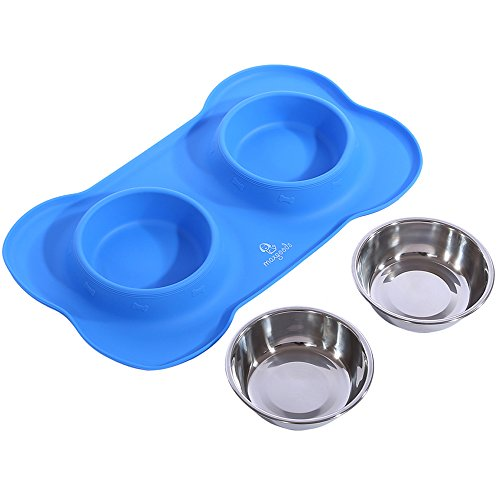 Pet Bowls Puppy Food Bowl Stainless Steel Dog Cat Bowls With No Spill Non Skid Silicone Mat 24Oz Feeder Bowls For Small Dogs Cats Pets Blue