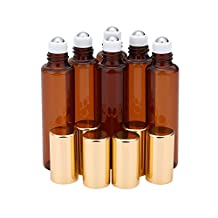 niceEshop(TM) 10ml(1/3 Oz) Amber Glass Roll-on Bottles With Stainless Steel Roller Ball for Essential Oil,Aromatherapy,Perfumes and Lip Balms,Set of 6