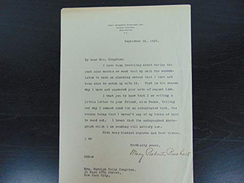"""The American Agatha Christie"" Mary Roberts Rinehart Signed Letter W/COA from Unknown"